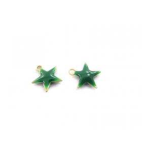 4 ciondoli charms stelline smaltate di colore verde misure 10,5x10 mm