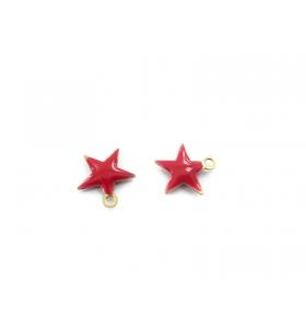 4 ciondoli charms stelline smaltate di colore rosso misure 10,5x10 mm