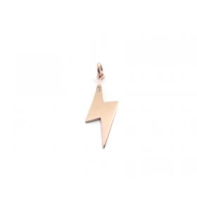 fulmini e saette ciondolo charm in argento 925 placcato oro rosa 20x6 mm made in italy