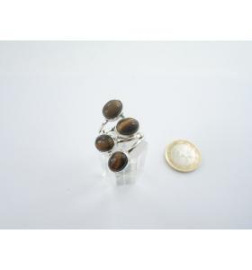 anello contrariè in stile moderno argento 925 4 pietre occhio di tigre ovali di 8x6 mm