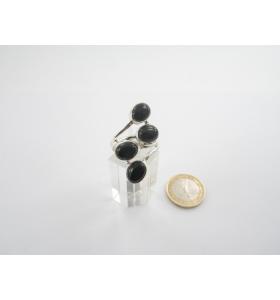 anello contrariè in stile moderno argento 925 4 pietre onice nero ovali