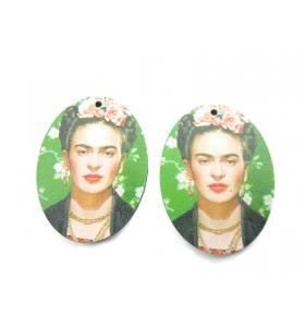 2 basi orecchino serie art frida kahlo in legno
