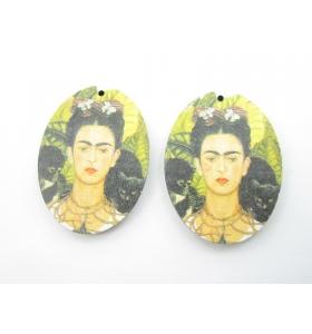 2 basi orecchino serie art frida kahlo in legno 1