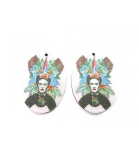 2 basi orecchino serie art frida kahlo in legno 2