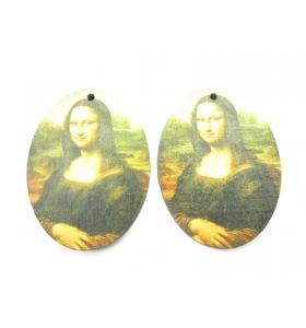2 basi orecchino serie art la gioconda in legno