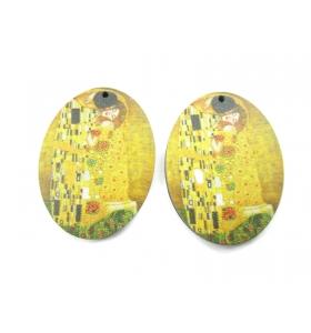 2 basi orecchino serie art Gustav Klimt in legno