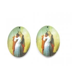 2 basi orecchino serie art Francesco Hayez in legno