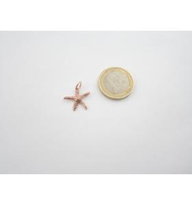 ciondolo charms stella marina in argento 925 placcato oro rosso 17x16 mm italy