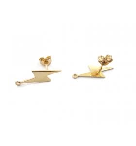 1 paio orecchini fulmine in argento 925 placcato oro giallo