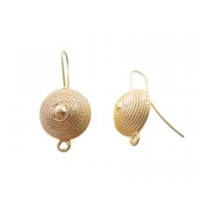 2 basi orecchini in zama dorata modello corbula sarda