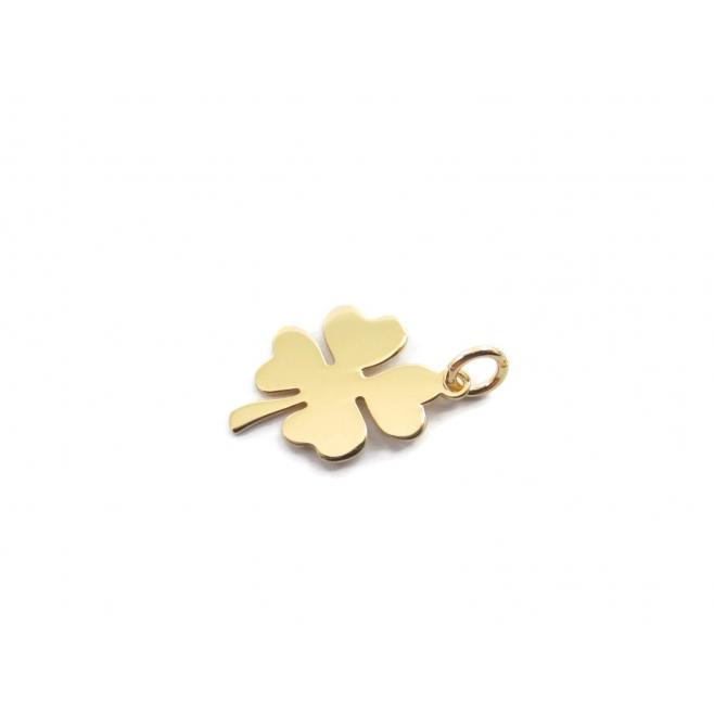ciondolo charms quadrifoglio argento 925 di 15x10 mm placcato oro giallo  italy