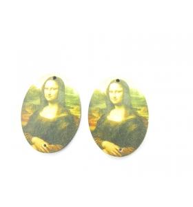 2 basi orecchino serie art la gioconda in legno connettore 2 fori