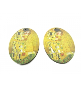 2 basi orecchino serie art Gustav Klimt in legno connettore 2 fori