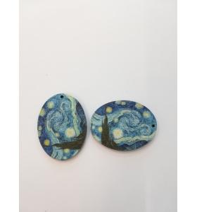 2 basi orecchino in legno serie art Van Gohg