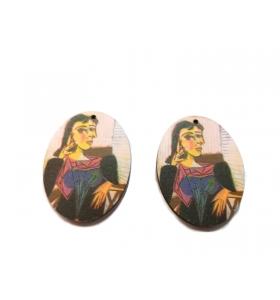 2 basi orecchino in legno serie art Picasso