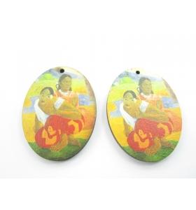 2 basi orecchino in legno serie art Gauguin