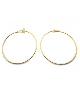 1 coppia di monachelle cerchio di 31 cm in filo argento 925 placcato oro giallo