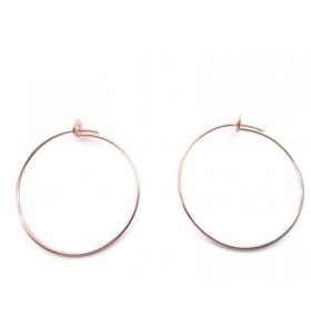 1 coppia di monachelle cerchio di 31 cm in filo argento 925 placcato oro rosa