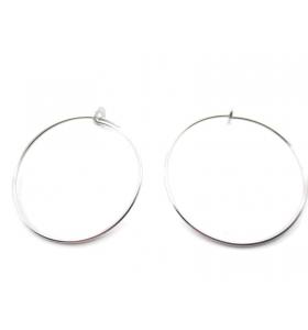 1 coppia di monachelle cerchio di 31 cm in filo argento 925 rodiato
