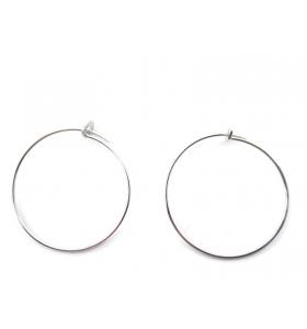 1 coppia di monachelle cerchio di 26 cm in filo argento 925 rodiato