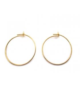 1 coppia di monachelle cerchio di 26 cm in filo argento 925 placcato oro giallo