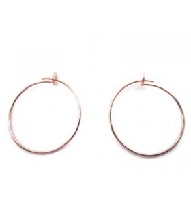 1 coppia di monachelle cerchio di 26 cm in filo argento 925 placcato oro rosa