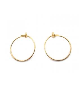1 coppia di monachelle cerchio di 22 cm in filo argento 925 rodiato