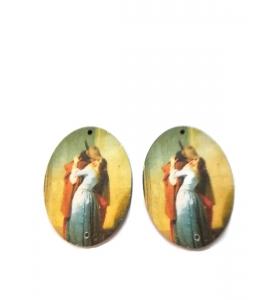2 basi orecchino connettore 2 fori serie art Francesco Hayez in legno
