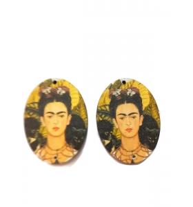 2 basi orecchino connettori 2 fori serie art frida kahlo in legno 1