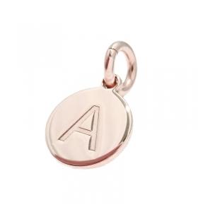 1 ciondolo charms tondo lettera  A in argento 925 placcato oro rosa