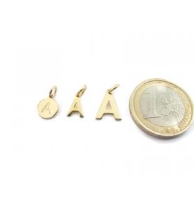 1 ciondolo charms piccola lettera A in argento 925 placcato oro giallo