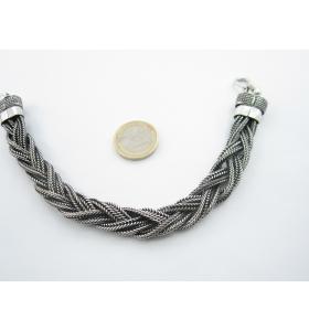 bracciale snake originale indiano in argentone 6 fili intrecciati lungo 21 cm h. 15 mm.