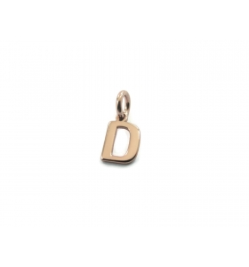 1 ciondolo charms piccola lettera D in argento 925 placcato oro rosa