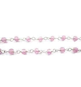 10 cm catena in argento e zirconi rosa sfaccettati concatenati tipo rosario