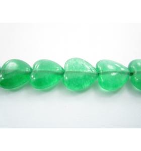 coppia di cuori in agata verde di 11,5x12 mm 2 pz