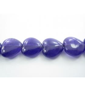 coppia di cuori in agata viola cabochon (liscia) di 14,5x15 mm 2 pz