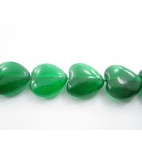 coppia di cuori in agata verde cabochon (liscia) di 14,5x15 mm 2 pz