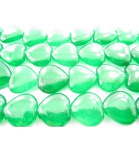 1 filo di cuori in agata verde cabochon (liscia) di 14,5x15 mm lungo 39 cm