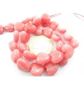 1 filo di cuori in agata rosa cabochon (liscia) di 11,5x12 mm lungo 38 cm