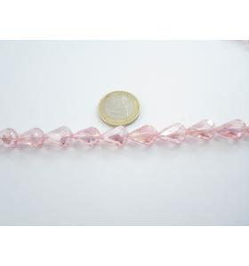 1 filo di cristallo sfaccettato rosa a goccia 13x10 mm.