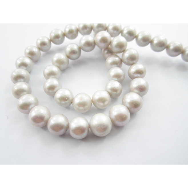 012f3f23fa1a 1 filo perle australiane di 9 mm grigio perla chiarissimo lungo 39 ...
