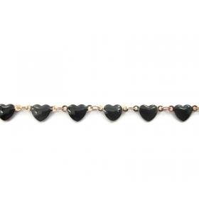 50 cm di catena cuori smaltati nero concatenato rosa