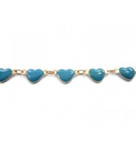 50 cm di catena cuori smaltati azzurro concatenato rosa