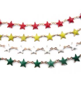 50 cm di catena stelle smaltate bianco concatenato rosa