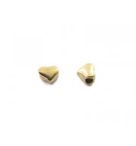 2 componenti cuore in argento 925 placcato oro giallo foro passante  di  1,8 mm misure 7 x 5 mm