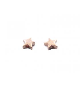 2 componenti stella in argento 925 placcato oro rosa foro passante  di  1 mm misure 6  mm