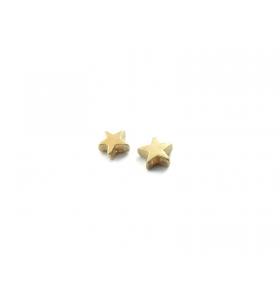 2 componenti stella in argento 925 placcato oro giallo foro passante  di  1 mm misure 6  mm