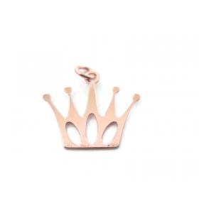 1 ciondolo charms corona   in argento 925  di 21x19 mm placcato oro rosso