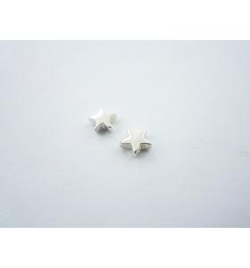 2 componenti stella in argento 925 foro passante  di  1 mm misure 6  mm