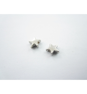 2 componenti stella in argento 925 rodiato foro passante  di  1 mm misure 6  mm